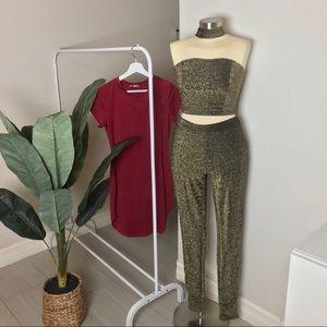 2 piece set + burgundy velvet dress